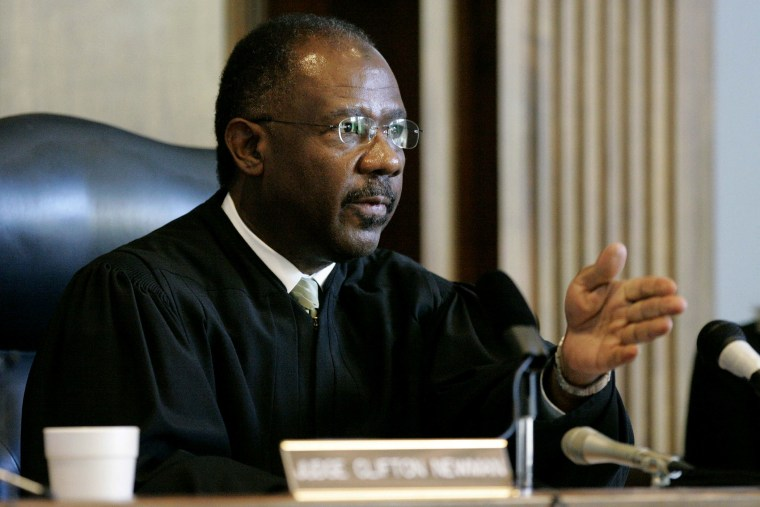 Judge Clifton Newman gestures in court in 2006, in St. Matthews, S.C. (Photo by Mary Ann Chastain/AP)