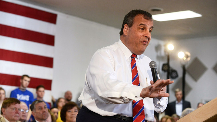 New Jersey Governor Chris Christie holds a town hall meeting at Londonderry Lion's Club April 15, 2015 in Londonderry, New Hampshire