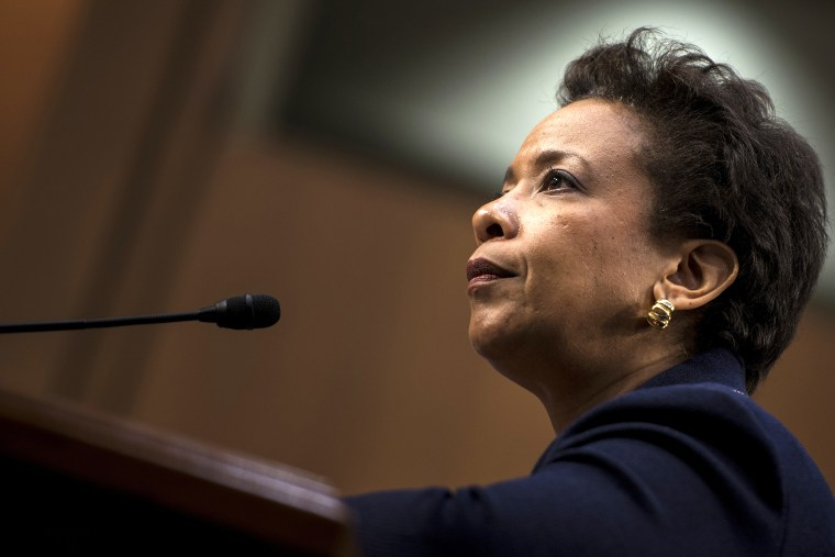 Loretta Lynch listens during her confirmation hearing before the Senate Judiciary Committee on Jan. 28, 2015 in Washington, D.C. (Photo by Brendan Smialowski/AFP/Getty)