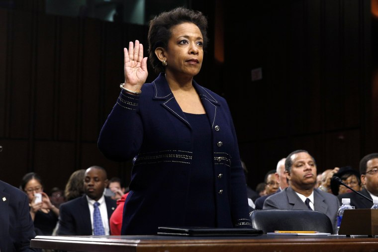 Loretta Lynch is sworn in to testify before a Senate Judiciary Committee confirmation hearing on her nomination to be U.S. attorney general on Capitol Hill in Washington, D.C., on Jan. 28, 2015. (Photo by Kevin Lamarque/Reuters)