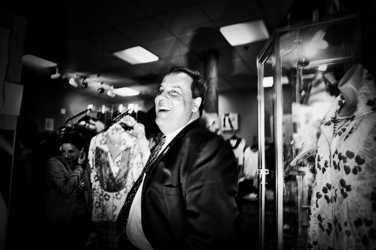 New Jersey Gov. Chris Christie, R-N.J. doing some retail politicking at at shop on Elm Street in Manchester, NH on April 17, 2015, in Nashua, NH.