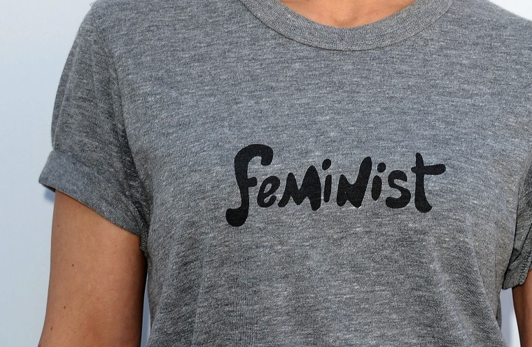 "Actress Constance Zimmer, wearing a ""feminist"" t-shirt, attends the Hollywood Reporter's Women In Entertainment breakfast at Milk Studios on Dec. 10, 2014 in Los Angeles, Calif. (Photo by Jason LaVeris/FilmMagic/Getty)"