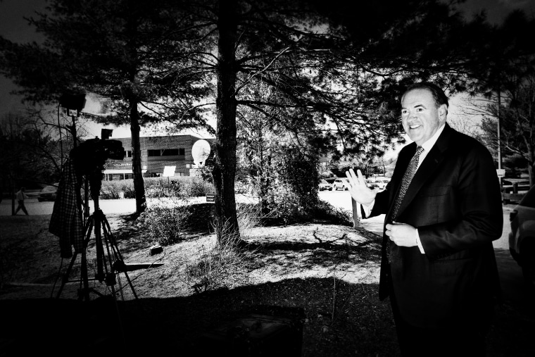 Mike Huckabee does a TV interview outside of the #FITN Republican Leadership Summit in Nashua, N.H., April 18, 2015. (Photo by Mark Peterson/Redux for MSNBC)