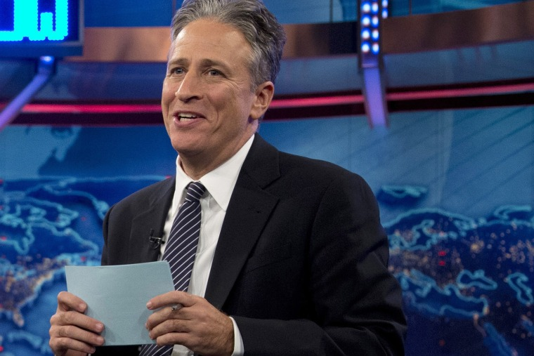 "Jon Stewart speaks during a taping of ""The Daily Show with Jon Stewart,"" in New York in 2012."