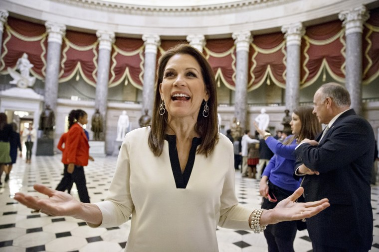 Rep. Michele Bachmann, R-Minn., speaks at the Capitol in Washington on Dec. 11, 2014. (Photo by J. Scott Applewhite/AP)