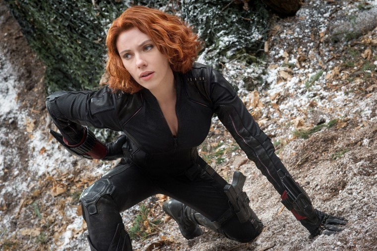 "Scarlett Johansson as Black Widow/Natasha Romanoff, in the film, ""Avengers: Age Of Ultron."""