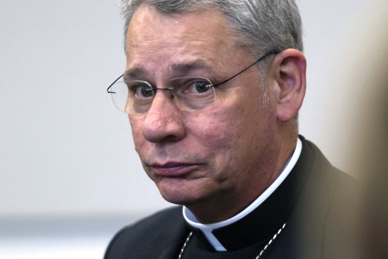 Bishop Robert Finn of the Diocese of Kansas City-St. Joseph appears during a bench trial on Sept. 6, 2012 at the Jackson County Courthouse in Kansas City, Mo. (Photo by Tammy Ljungblad/The Kansas City Star/AP)