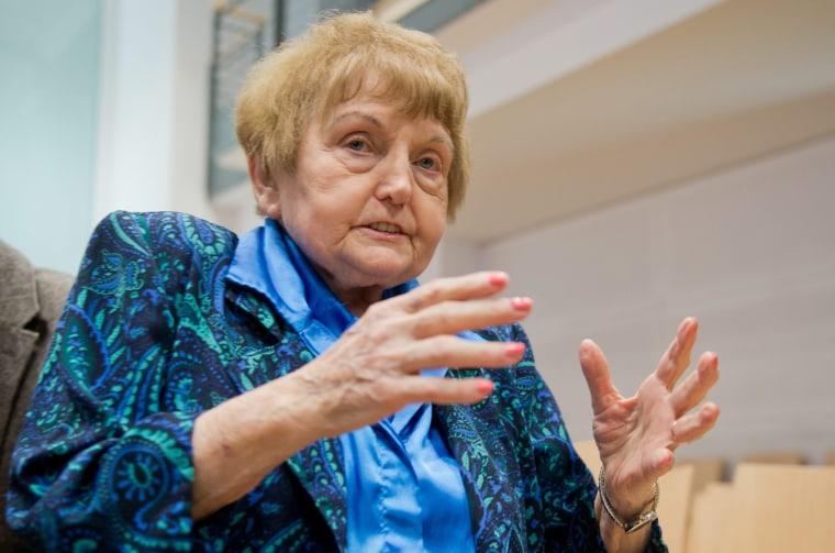 Auschwitz concentration camp survivor Eva Kor in the courtroom in Lueneburg, Germany on April 21, 2015.