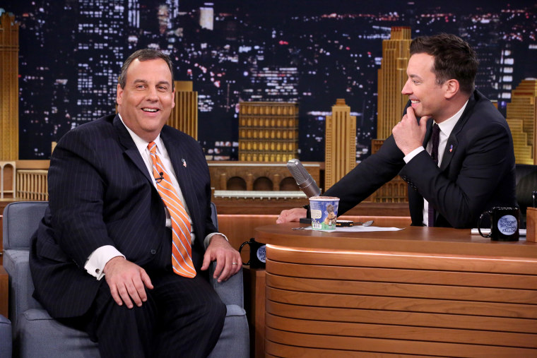 New Jersey Governor Chris Christie smiles during an interview with  The Tonight Show host Jimmy Fallon on April 22, 2015. (Photo by Douglas Gorenstein/NBC/NBCU Photo Bank/Getty)
