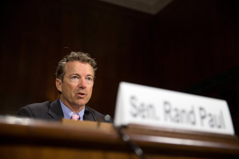 Republican Presidential candidate Sen. Rand Paul, R-Ky. speaks on Capitol Hill in Washington, D.C., April 15, 2015. (Photo by Andrew Harnik/AP)