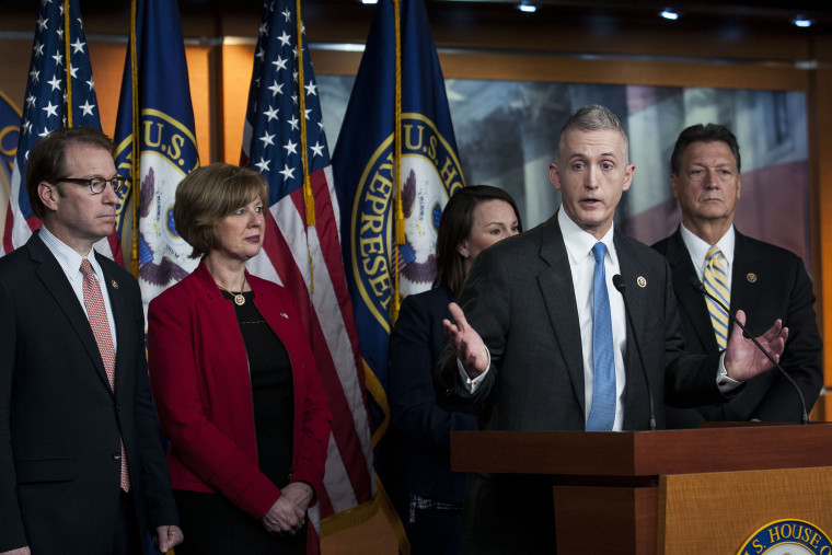 Chairman Trey Gowdy (R-SC) and other members of the House Select Committee on Benghazi speak to reporters at a press conference on the findings of former Secretary of State Hillary Clinton's personal emails at the U.S. Capitol on March 3, 2015.