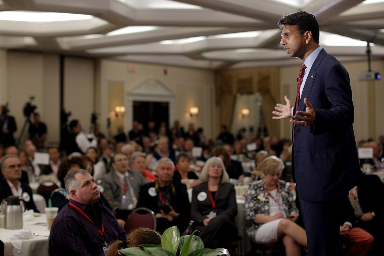 Potential Republican 2016 presidential candidate Louisiana Governor Bobby Jindal speaks at the First in the Nation Republican Leadership Conference in Nashua, N.H. on April 18, 2015. (Photo by Brian Snyder/Reuters)