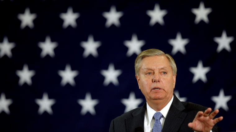 Potential Republican 2016 presidential candidate US Senator Lindsey Graham (R-SC) speaks at the First in the Nation Republican Leadership Conference in Nashua, N.H., April 18, 2015. (Photo by Brian Snyder/Reuters)