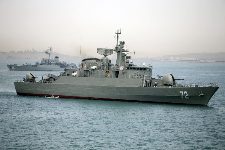 Iranian warship Alborz leaves Iran's waters. Iran dispatched two vessels to waters near Yemen as the US quickened weapons supply to the Saudi-led coalition striking rebels there, April 7, 2015. (Photo by Mahdi Marizad/Fars News Agency/AP)