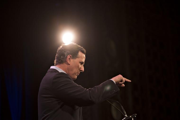 Rick Santorum speaks during the Iowa Freedom Summit in Des Moines, Ia., Jan. 24, 2015. (Photo by Daniel Acker/Bloomberg/Getty)