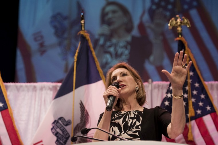Carly Fiorina, former chairman of Hewlett-Packard Co., speaks during the Iowa Faith & Freedom Coalition presidential forum at Point of Grace Church in Waukee, Ia., April 25, 2015. (Photo by Daniel Acker/Bloomberg/Getty)