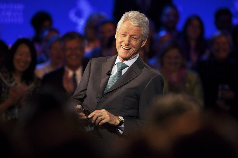 Former U.S. President Bill Clinton smiles during a taping of CNN's Piers Morgan Tonight at the annual Clinton Global Initiative (CGI) meeting on Sept. 25, 2013 in New York City. (Photo by Ramin Talaie/Getty Images)