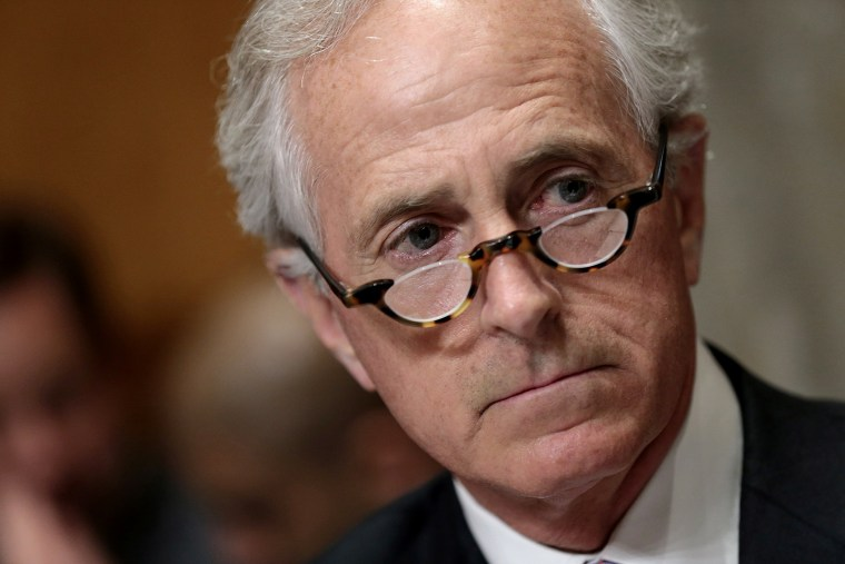 Senate Foreign Relations Committee Chairman Sen. Bob Corker (R-TN) makes opening remarks during a committee markup meeting on the proposed nuclear agreement with Iran on April 14, 2015 in Washington, DC.