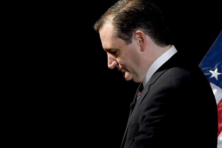 Republican presidential candidate Ted Cruz leaves the stage after speaking during the Republican Jewish Coalition spring leadership meeting at The Venetian Las Vegas on April 25, 2015 in Las Vegas, Nev.