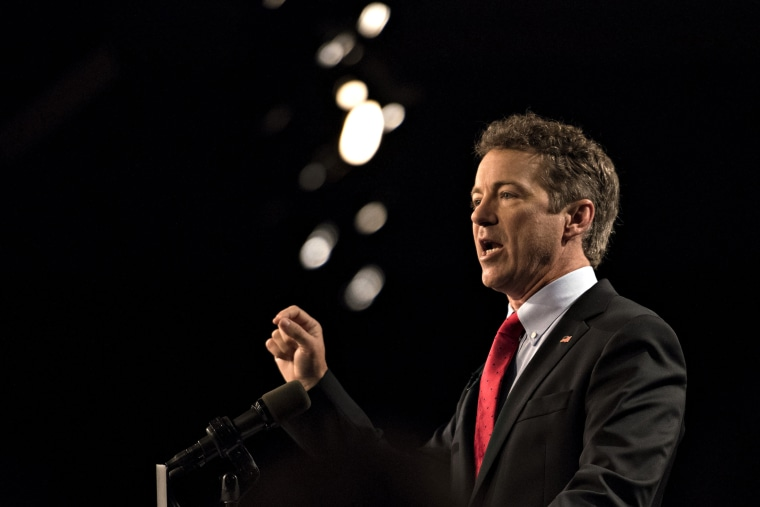 Senator Rand Paul (R-Ky.) speaks during a rally to formally announce his presidential campaign at the Galt House hotel in Louisville, Ky., on April 7, 2015. (Photo by Daniel Acker/Bloomberg/Getty)