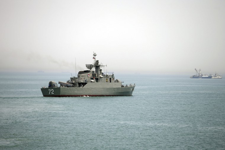 A file photo of an Iranian warship at the Strait of Hormuz on April 7, 2015.