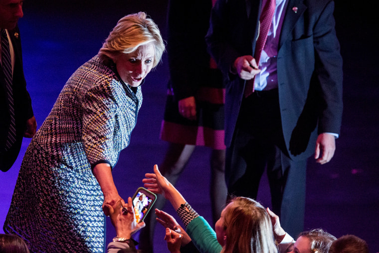 Democratic presidential hopeful and former Secretary of State Hillary Clinton shakes hands with supporters after addressing the Women in the World Conference on April 23, 2015 in New York City.
