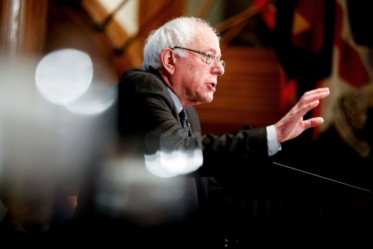 Sen. Bernie Sanders, I-Vt. speaks at a luncheon at the National Press Club in Washington, D.C., March 9, 2015. (Photo by Andrew Harnik/AP)