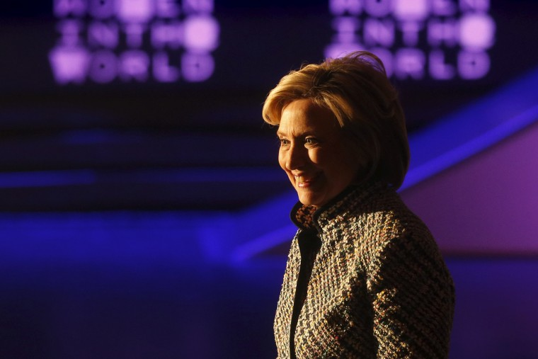 Democratic presidential candidate Hillary Clinton smiles after delivering the keynote address at the Women in the World summit in New York April 23, 2015. (Photo by Shannon Stapleton/Reuters)