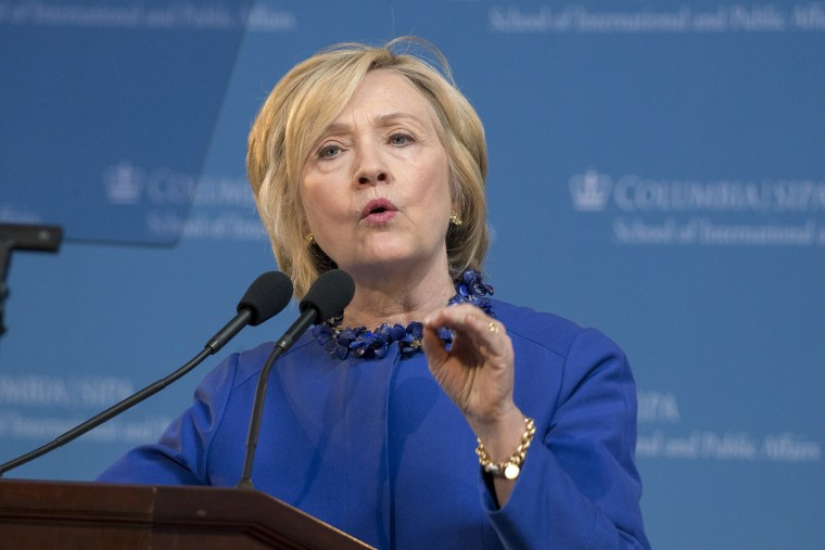 Democratic presidential candidate Hillary Clinton delivers the keynote address at the 18th Annual David N. Dinkins Leadership and Public Policy Forum at Columbia University in New York