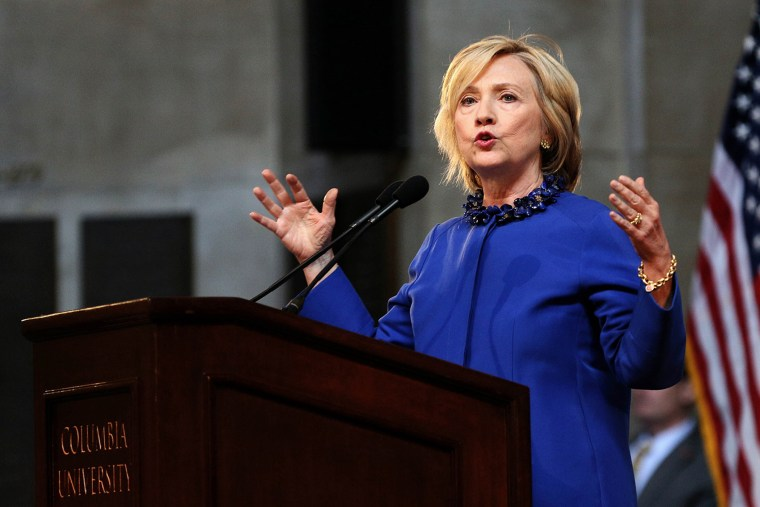 Hillary Clinton delivers the keynote address at the 18th Annual David N. Dinkins Leadership and Public Policy Forum at Columbia University, in New York on April 29, 2015. (Photo by Trevor Collens/AFP/Getty)