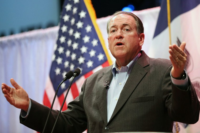 Former Arkansas Governor Mike Huckabee speaks to guests gathered at the Point of Grace Church for the Iowa Faith and Freedom Coalition 2015 Spring Kickoff on April 25, 2015 in Waukee, Iowa. (Photo by Scott Olson/Getty)