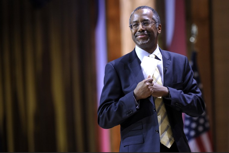 Dr. Ben Carson, professor emeritus at Johns Hopkins School of Medicine, speaks at the Conservative Political Action Committee annual conference in National Harbor, Md., on March 8, 2014. (Photo by Susan Walsh/AP)