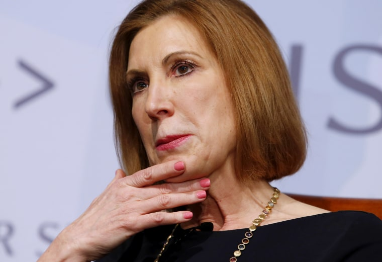 """US presidential candidate Carly Fiorina and former chairman and CEO of Hewlett Packard, speaks at a Center for Strategic and International Studies forum titled \""""Smart Women, Smart Power\"""" in Washington April 6, 2015. (Photo by Yuri Gripas/Reuters)"""