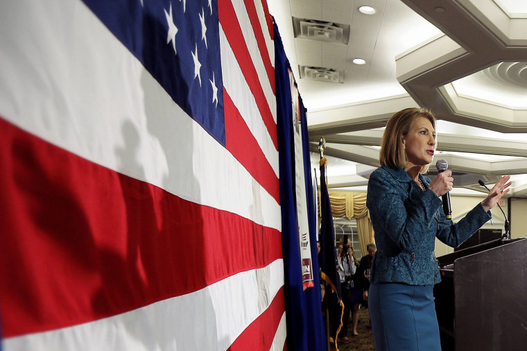 Republican 2016 presidential candidate Carly Fiorina speaks at the First in the Nation Republican Leadership Conference in Nashua, N.H. April 18, 2015. (Photo by Brian Snyder/Reuters)