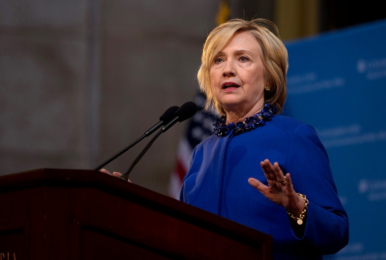 Democratic presidential hopeful and former Secretary of State Hillary Clinton speaks during the David N. Dinkins Leadership and Public Policy Forum at Columbia University April 29, 2015 in New York City, NY. (Photo by Kevin Hagen/Getty)