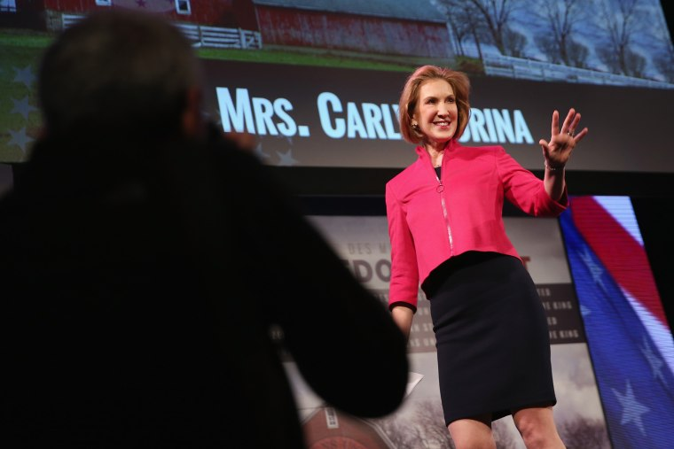Carly Fiorina, Former CEO of Hewlett-Packard Company, speaks to guests at the Iowa Freedom Summit on January 24, 2015 in Des Moines, Iowa. (Photo by Scott Olson/Getty)