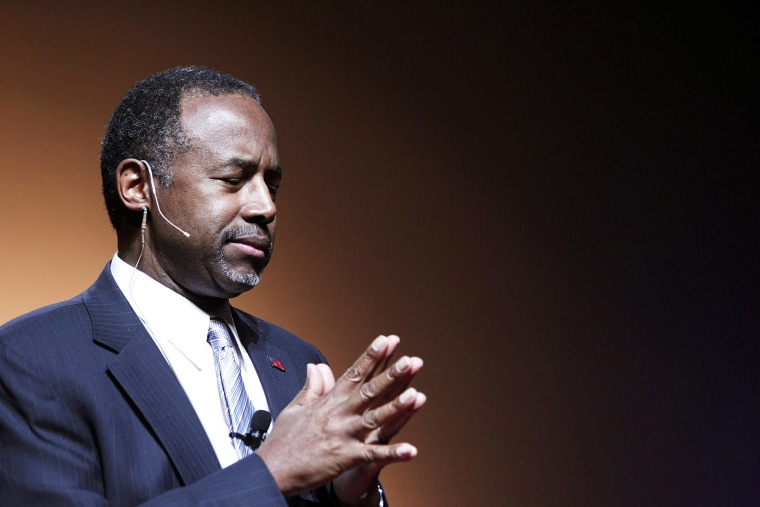 Republican Dr. Ben Carson, a retired pediatric neurosurgeon, speaks as he officially announces his candidacy for President of the United States at the Music Hall Center for the Performing Arts May 4, 2015 in Detroit, Mich. (Photo by Bill Pugliano/Getty)