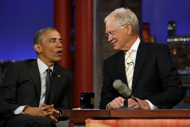 U.S. President Barack Obama tapes an appearance on the Late Show with David Letterman at the Ed Sullivan Theater in New York on May 4, 2015