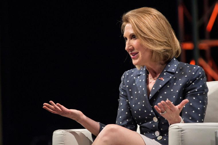 Republican presidential hopeful Carly Fiorina speaks at TechCrunch's Disrupt conference on May 5, 2015 in New York, N.Y. (Photo by Andrew Burton/Getty)