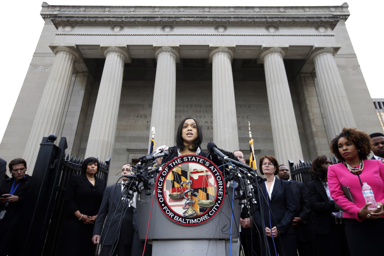 In this Friday, May 1, 2015 file photo, Marilyn Mosby, Baltimore's top prosecutor, speaks during a news conference in Baltimore. (Photo by Alex Brandon/AP)