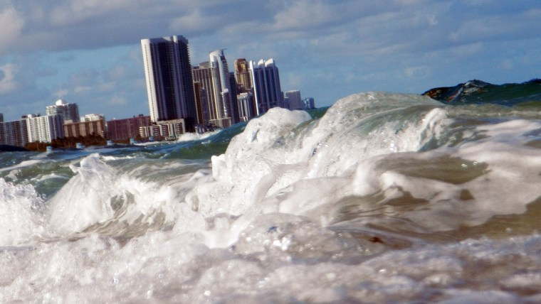 Buildings are seen near the ocean as reports indicate that Miami-Dade County in the future could be one of the most susceptible places when it comes to rising water levels due to global warming on March 14, 2012 in North Miami, Fla. (Joe Raedle/Getty)