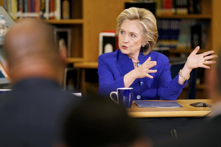 Former U.S. Secretary of State Hillary Clinton takes part in a roundtable of young Nevadans discussing immigration as she campaigns for the 2016 Democratic presidential nomination at Rancho High School in Las Vegas, Nev., May 5, 2015. (Mike Blake/Reuters)