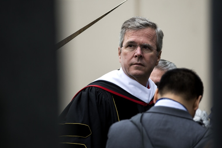 Republican U.S. presidential hopeful Jeb Bush waits to take the stage prior to delivering the commencement address at Liberty University, at Williams Stadium, May 9, 2015 in Lynchburg, Va. (Photo by Drew Angerer/Getty)