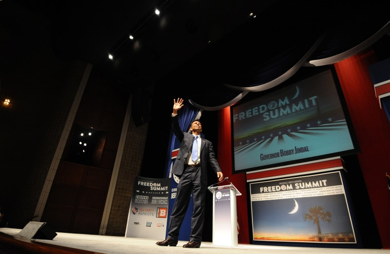 Louisiana Gov. Bobby Jindal waves after speaking at the Freedom Summit, May 9, 2015, in Greenville, S.C. (Photo by Rainier Ehrhardt/AP)