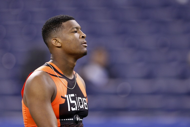 Quarterback Jameis Winston of Florida State looks on during the 2015 NFL Scouting Combine at Lucas Oil Stadium on Feb. 21, 2015 in Indianapolis, Ind. (Photo by Joe Robbins/Getty)