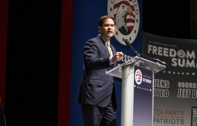 Republican presidential candidate Senator Marco Rubio (R-FL) speaks during the Freedom Summit in Greenville, S.C. May 9, 2015. (Photo by Chris Keane/Reuters)