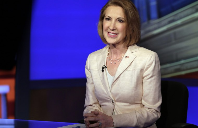 """Republican presidential candidate Carly Fiorina, the former Hewlett-Packard chief executive, is interviewed by Neil Cavuto, during the """"Cavuto"""" program on the Fox Business Network, in New York, May 6, 2015. (Photo by Richard Drew/AP)"""