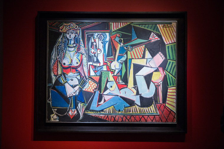 "The painting ""Les femmes d'Alger (Version O)"" by Pablo Picasso is displayed at Christie's on May 11, 2015 in New York City."