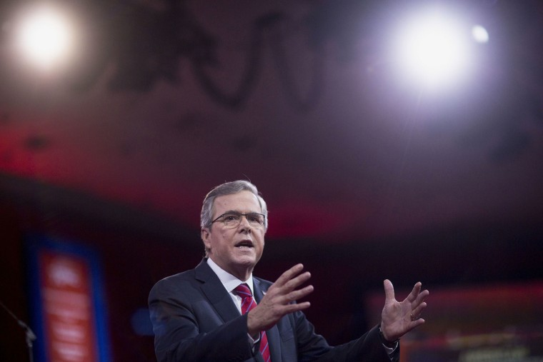 Jeb Bush speaks at the Conservative Political Action Conference (CPAC) in National Harbor, Md., on Feb. 27, 2015. (Photo by Andrew Harrer/Bloomberg/Getty)