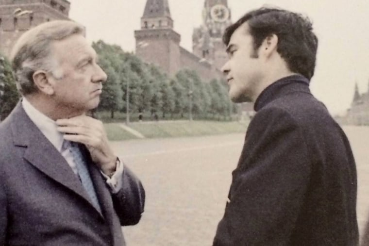 Ed Fouhy with Walter Cronkite covering President Nixon's trip to Russia in 1972.